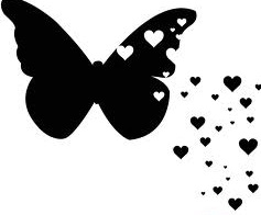 Black butterfly with hearts