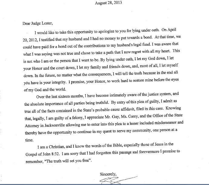 letter of remorse to judge Korestjovenesambientecasco