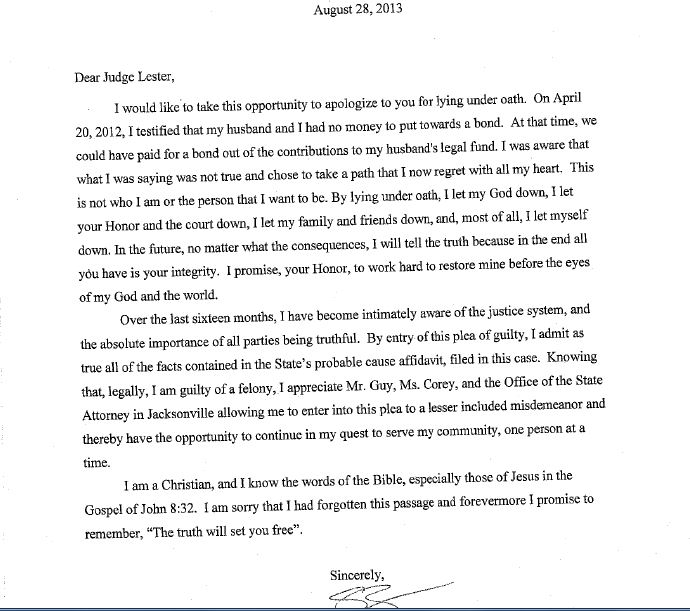 Shellie Zimmermanu0027s Letter Of Apology To Judge Lester
