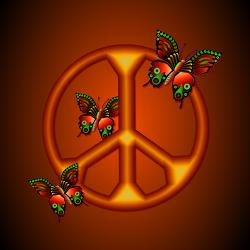 butterflies_peace_sign_framed_tile