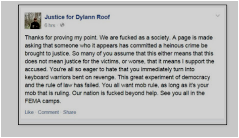 Justice for Dylan Roof warning