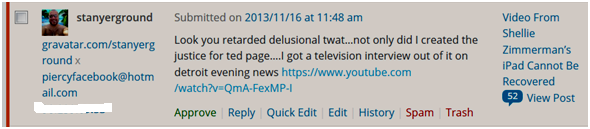 Stanyergroud admitting to be creator or Ted Wafer page