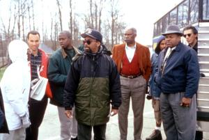 GET ON THE BUS, Roger Guenveur Smith (second from left), director Spike Lee, Ossie Davis, Charles S. Dutton, Richard Belzer, 1996, (c)Columbia Pictures