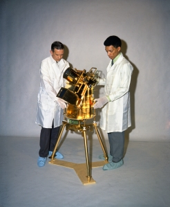 Man's First Moon-Based Space Observatory-The first observatory ever operated by man from a fixed platform outside the earth was this gold-plated ultra-violet (UV) camera/spectograph.It was placed on the moon by the Apollo 16 astronauts, after they landed there April 20,1972.