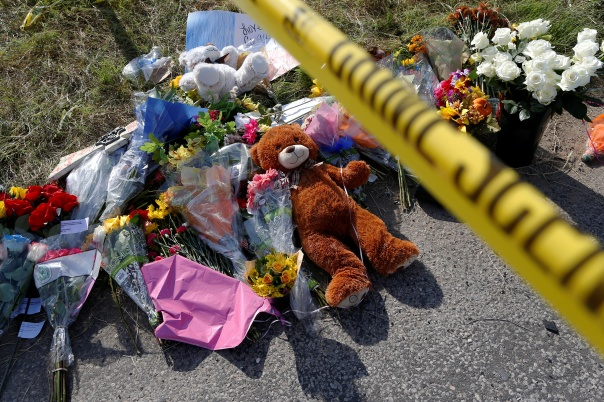 A memorial is seen at the site of the shooting at the First Baptist Church of Sutherland Springs