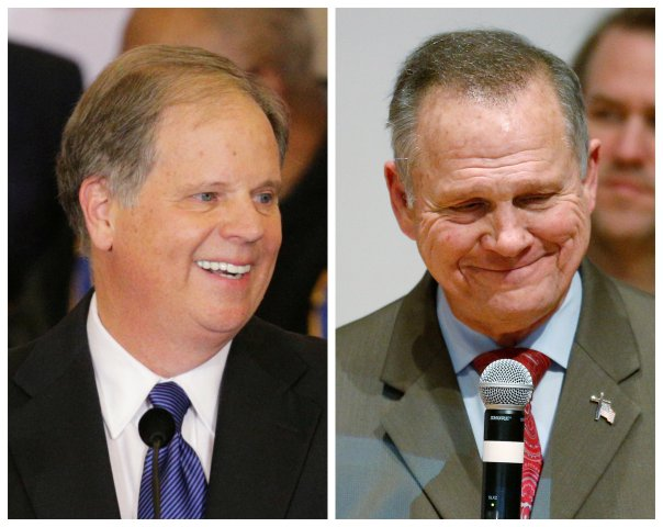 FILE PHOTO: A combination photo shows Democratic Alabama U.S. Senate candidate Doug Jones and Republican U.S. Senate candidate Roy Moore